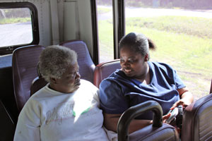 Passengers on their way to Myrtle Beach on Williamsburg County Transit bus